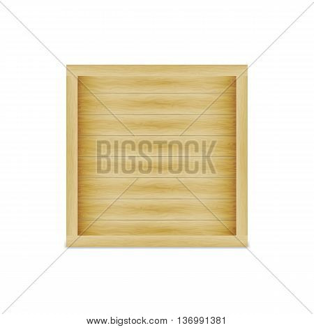 Vector illustration of a closed wooden box. On an isolated white background.