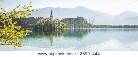 Beautiful panorama of Bled Lake in Slovenia