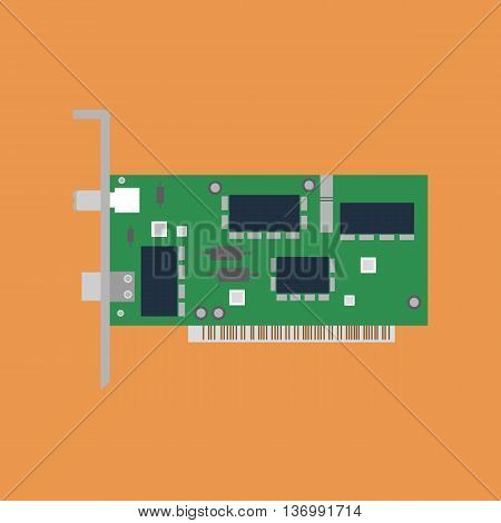 Ethernet card illustration on the orange background. Vector illustration