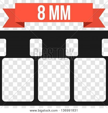 Vector 8 mm Film Strip Illustration on transparent background. Abstract Film Strip design template with red banner ribbon text