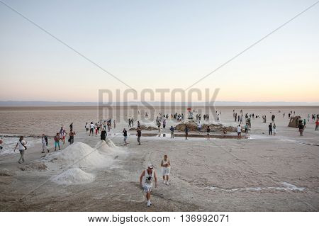 Tourists At Salt Lake Chott El Jerid At Sunrise