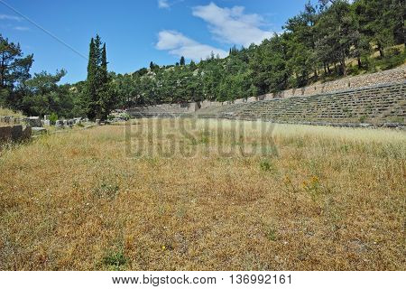 The mountain top stadium at Delphi,Central Greece