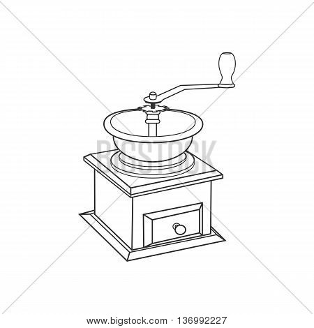 Manual coffee grinder mill on the white background. Vector illustration