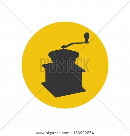 Manual coffee grinder mill silhouette on the yellow background. Vector illustration