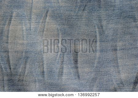 Closeup denim jeans texture or old blue jeans