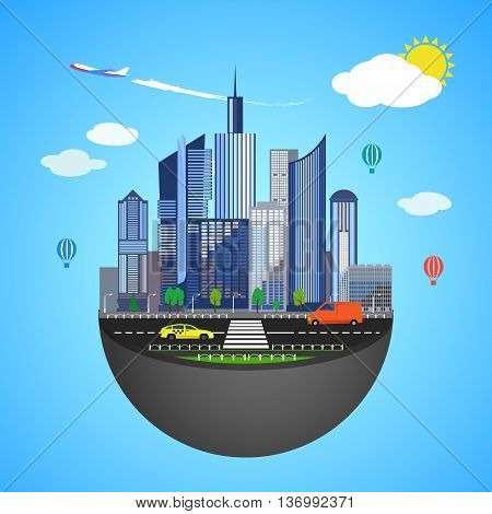 Urban earth concept. Vector illustration for global design. Flat cartoon style. City building planet. Skyscraper world on blue sky background. Real estate city infrastructure. Modern district scene