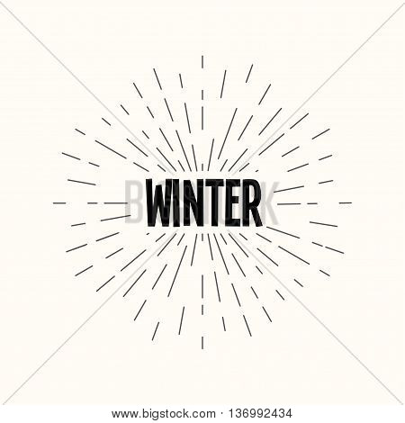 Hand drawn sunburst vector - winter. For web and mobile icon isolated on background, art template, retro elements, logo, identity, labels, badge, ink, tag, card