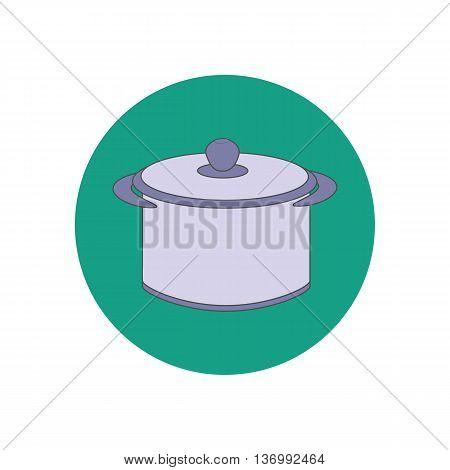 Saucepan illustration vector on the green background. Vector illustration