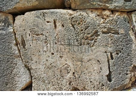 inscription in Ancient Greek archaeological site of Delphi,Central Greece