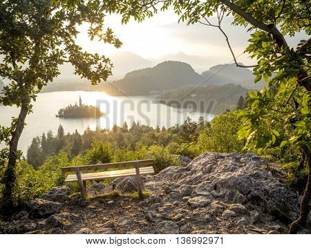 View from a viewpoint on Bled lake in Slovenia