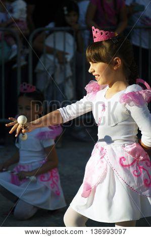 Montenegro, Herceg Novi - 04/06/2016: Small majorettes, dressed as fairies dance show. 10 International Children's Carnival