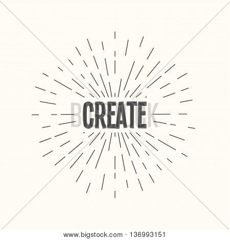 Hand drawn sunburst vector - create. For web and mobile icon isolated on background, art template, retro elements, logo, identity, labels, badge, ink, tag, card