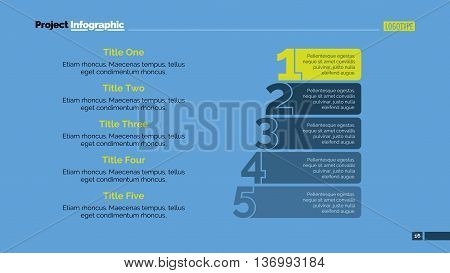 Process chart slide template. Business data. Graph, diagram, design. Creative concept for infographic, templates, presentation, marketing. For topics like quality management, strategy, economics.