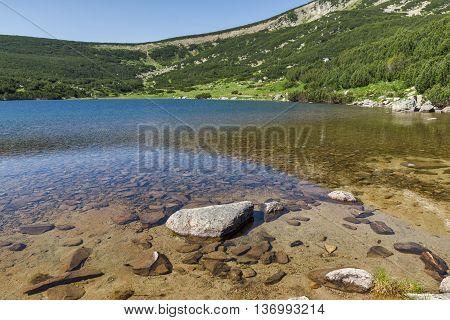 Clear waters of Bezbog lake, Pirin Mountain, Bulgaria