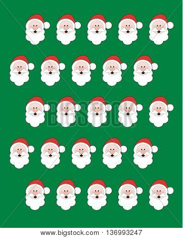 Santa face Christmas Background Pattern using primary colors