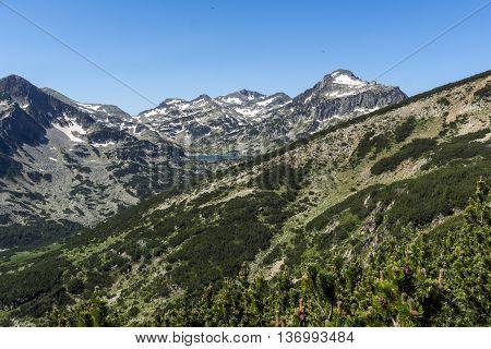 Panoramic view of Popovo lake, Dzhangal and Kamenitsa peaks in Pirin Mountain, Bulgaria