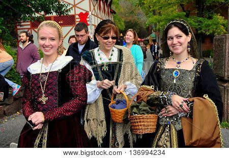 Mount Hope Pennsylvania - October 17 2015: Visitors to the annual Pennsylvania Renaissance Faire wear meticulously crafted period clothing
