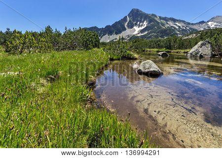 Panoramic view of Sivrya peak and Banski lakes, Pirin Mountain, Bulgaria