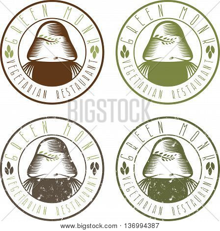 green monk vegetarian restaurant vintage emblems set