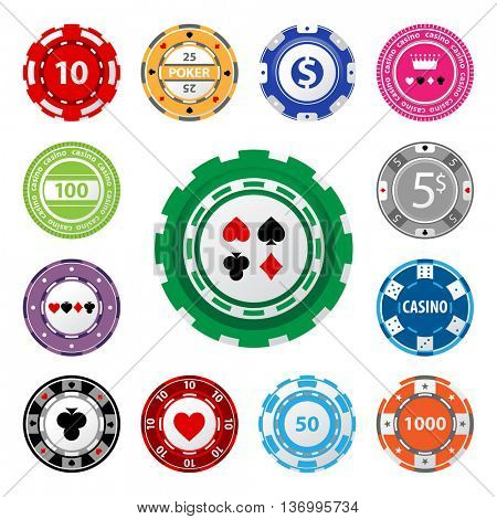 Great set of gambling chips for your designs!