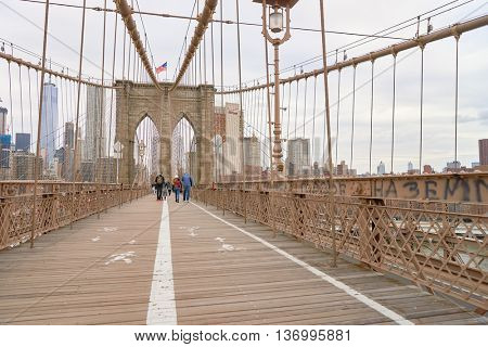 NEW YORK - CIRCA MARCH, 2016: view from the pedestrian walkway of the Brooklyn Bridge. The Brooklyn Bridge is connects the boroughs of Manhattan and Brooklyn by spanning the East River.