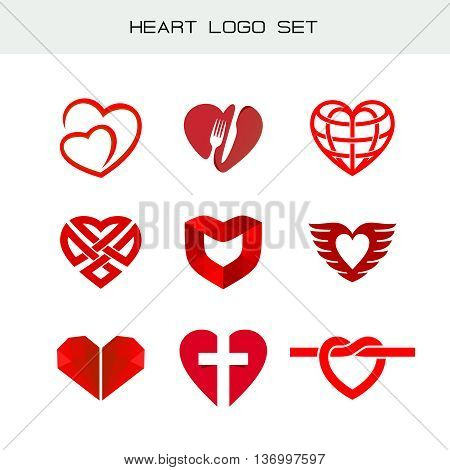 Heart logo set. Red heart symbols. Heart icon for different appliance.