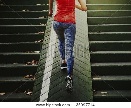 Sportwomen Athlete Attractive Training Working Concept