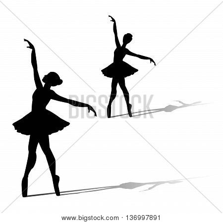 the vector dancer silhouette on white background