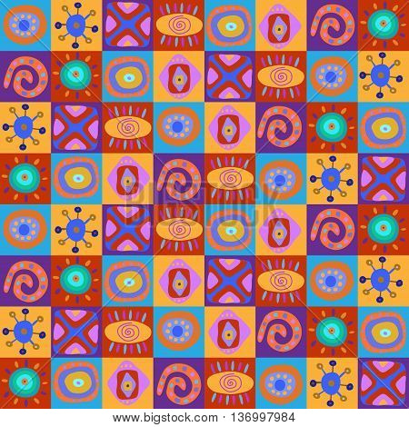 Seamless Pattern With Children's African Ornament