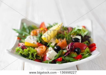 Food Salad Olives Snack Mediterranean Copyspace wood Appetizing Healthy Eating Creative Food Gourmet Cuisine Concept