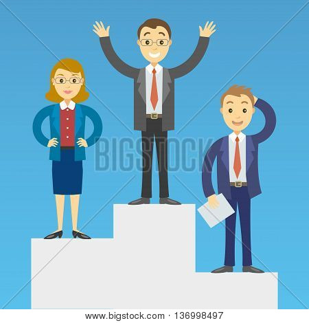 Cartoon business people on a pedestal celebrating the victory. Vector illustration
