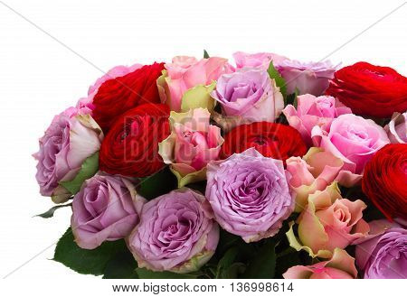 bunch of fresh roses and ranunculus close up isolated on white background