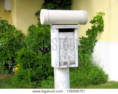 An Old Rustic White Washed Post Box 02