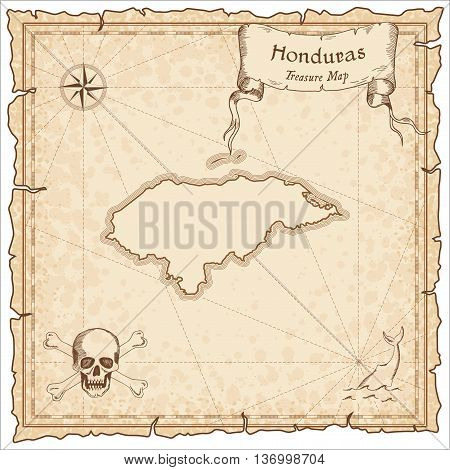 Honduras Old Pirate Map. Sepia Engraved Template Of Treasure Map. Stylized Pirate Map On Vintage Pap
