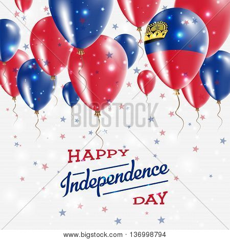 Liechtenstein Vector Patriotic Poster. Independence Day Placard With Bright Colorful Balloons Of Cou