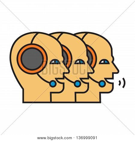Men head silhouettes wearing headsets. Hotline operators, support, service, telephone. Service concept. Can be used for topics like service, support, work, assistance