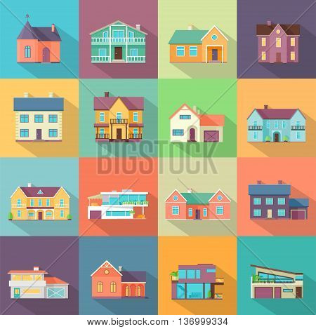 Set houses, buildings, and architecture variations in flat style design with long shadow. Modern city architecture concept. Different modern design structures vector illustration.