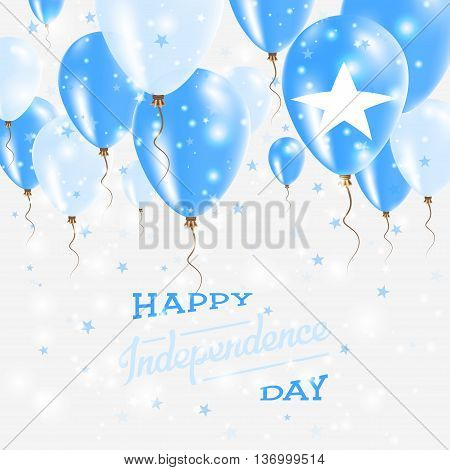 Somalia Vector Patriotic Poster. Independence Day Placard With Bright Colorful Balloons Of Country N