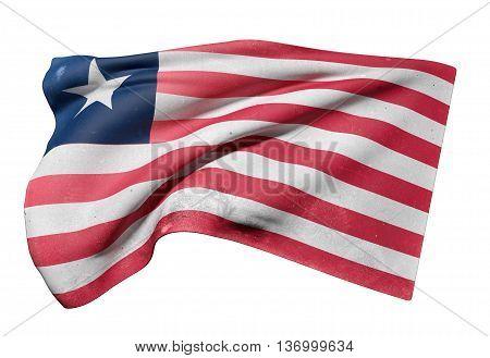 Illustration 3d rendering of Liberia flag waving