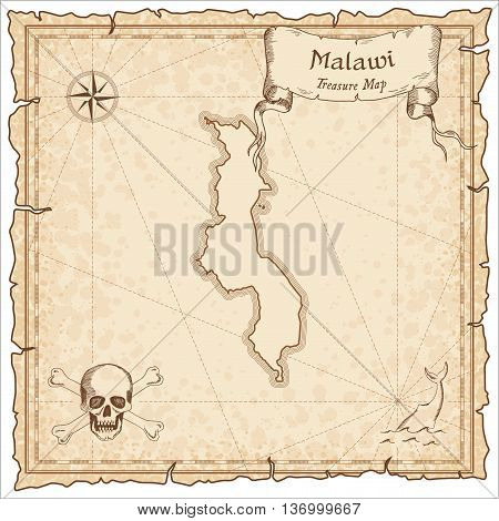 Malawi Old Pirate Map. Sepia Engraved Template Of Treasure Map. Stylized Pirate Map On Vintage Paper