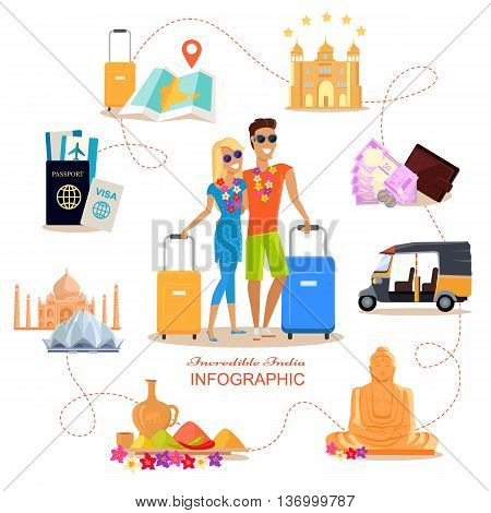 Incredible India travel infographic conceptual poster in flat style design. Summer vacation in exotic countries vector illustration. Honeymoon in India concept. Couple in love India romantic trip.