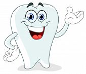 pic of smiley face  - Vector cartoon tooth presenting with his hand - JPG