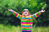 Child Playing In The Rain poster