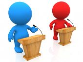 picture of debate  - 3D people in a debate isolated over a white background - JPG