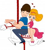picture of bombshell  - Illustration of a Pinup Couple Riding a Carousel - JPG