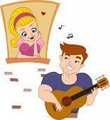 picture of love couple  - Illustration of a Pinup Guy Serenading a Girl - JPG