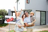 Happy family buying a house