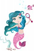 stock photo of undine  - vector illustration of a cute mermaid with fish - JPG