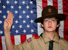 image of boy scout  - portrait of boy scout on my honor