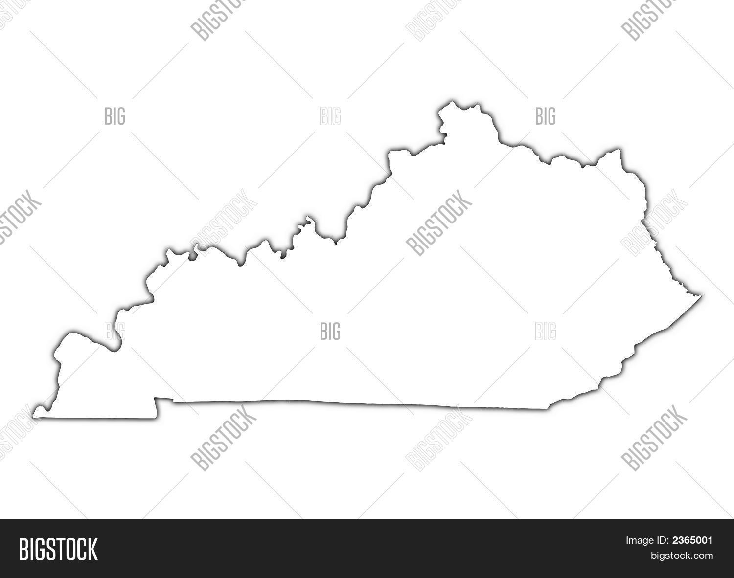 Kentucky Usa Outline Map With Shadow Stock Photo  Stock Images - Kentucky on a map of usa